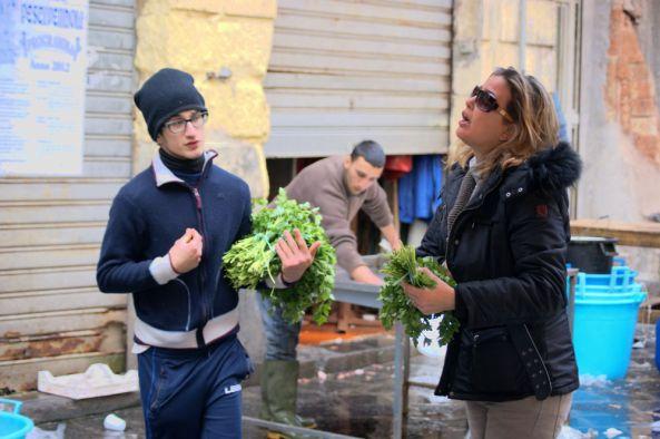 Catania Pescheria Herb Seller Bartering Customer