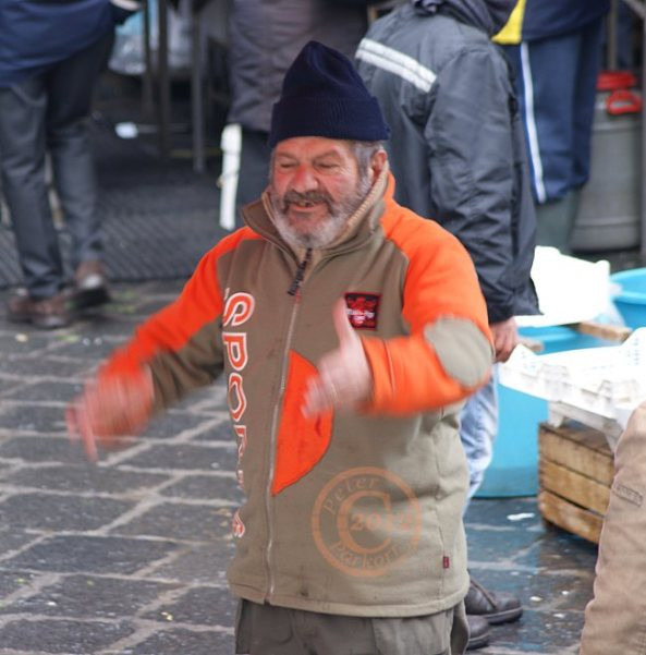 Fish Seller Getting Animated, Sicily